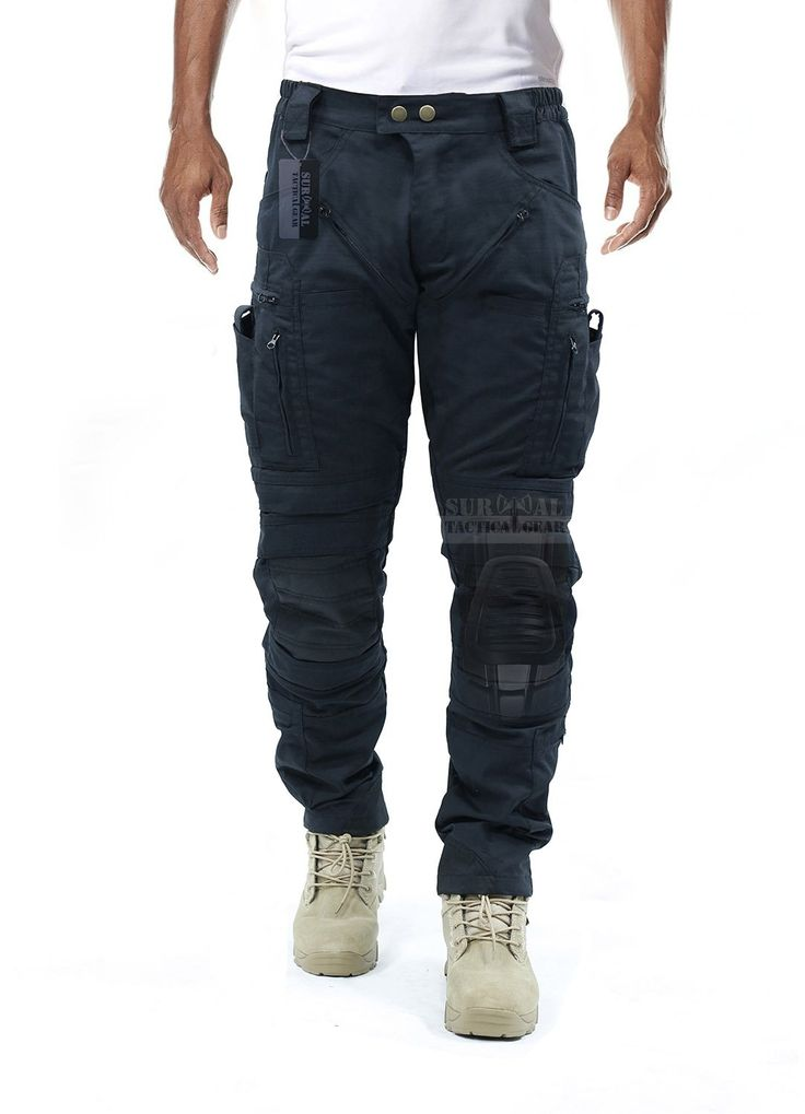 Survival Tactical Gear Men's Airsoft Wargame Tactical Pants with Knee Protection System & Air Circulation System (Black, XL)