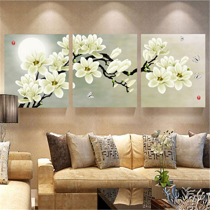 3Pcs White Orchid Combination Painting On Canvas Frameless Drawing Home Background Wall Decor  #decor #homedecor #decoration #interiordecor #instadecor #weddingdecor #decorations #decorating #decoracao #homedecoration #decoracion #walldecor
