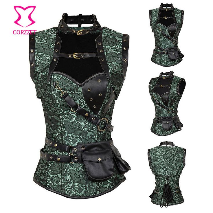 Green / Black Gothic Corset Waist Trainer Corsets And Bustiers Steampunk Clothing Espartilhos E Corpetes Sexy Korsett For Women