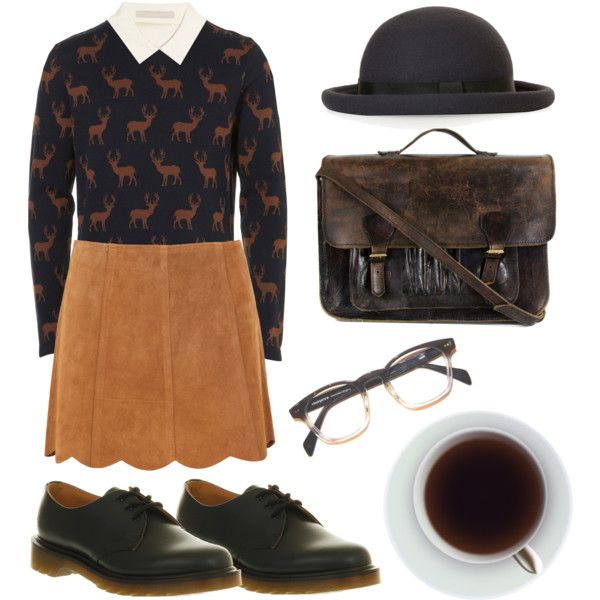 Deers by hanaglatison on Polyvore featuring Jason Wu, Joie, Dr. Martens, Priestley's Vintage, Topshop, Topman, low docs, suede, coffee.tea and brown