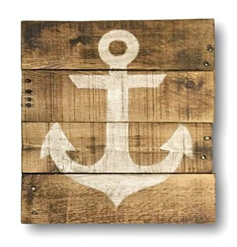 "Wood wall hanging, hand painted on reclaimed wood. This rustic anchor sign works perfectly for a nautical themed nursery. Also makes a lovely addition to any lake or beach home. Makes a wonderful gift! Size pictured is 16"" x 16"" in size and has a natural wood background with a white anchor. Custom sizes are also available, just message me for pricing information! You may purchase this sign individually or the complete set of all four nautical designs (see additional listing photos)."