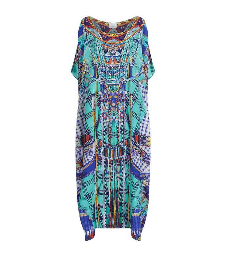 Women: Maxi Dresses Camilla Long Round Neck Printed Silk Kaftan