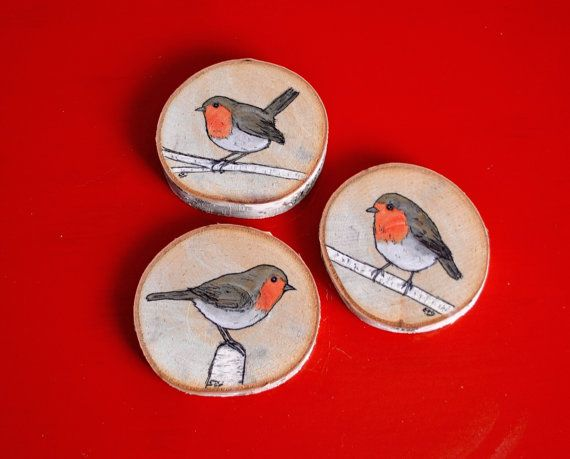 Original Birch Slice Paintings - Set of 3 English Robin Watercolour Paintings on Small Birch Slices