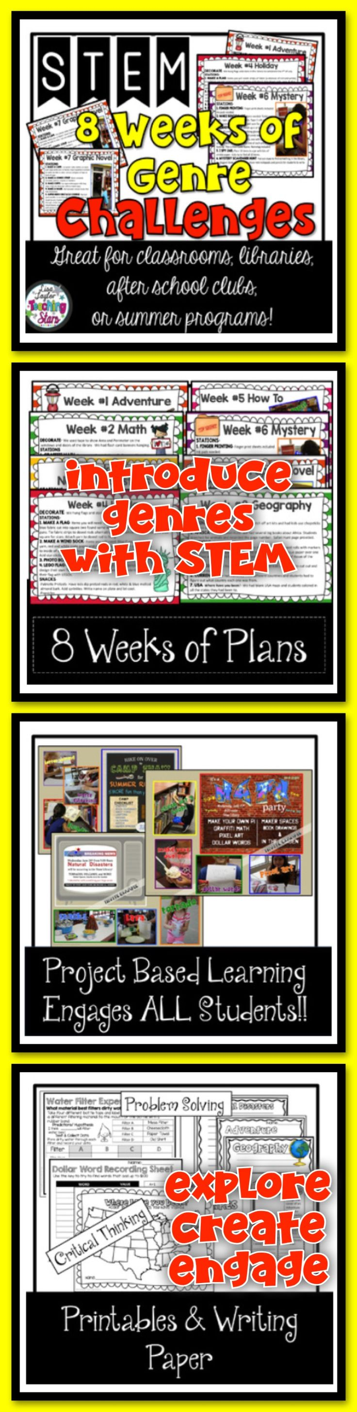 STEM 8 Weeks of Genre Challenges is a packet of plans and activities for 8 Weeks of Genre Challenges. Students will love learning about the different book genres as they explore, create, and engage in themed activities. Your students will want to try different genres after each week of fun activities! This product is great for classrooms, libraries, after school clubs, or summer programs!