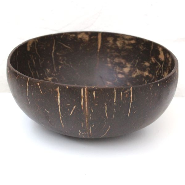 Our original coconut shell bowl has a smooth exterior like a traditional wooden bowl. These bowls have been polished with virgin coconut oil. These coconut shell bowls are hand made from real coconuts