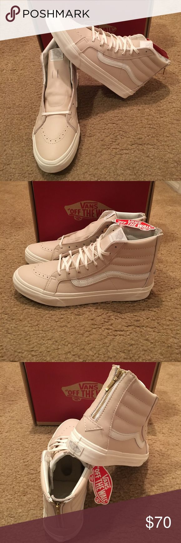 Leather Sk8Hi Zip Vans New in box. Whispering pink/blanc de blanc Vans Shoes Sneakers
