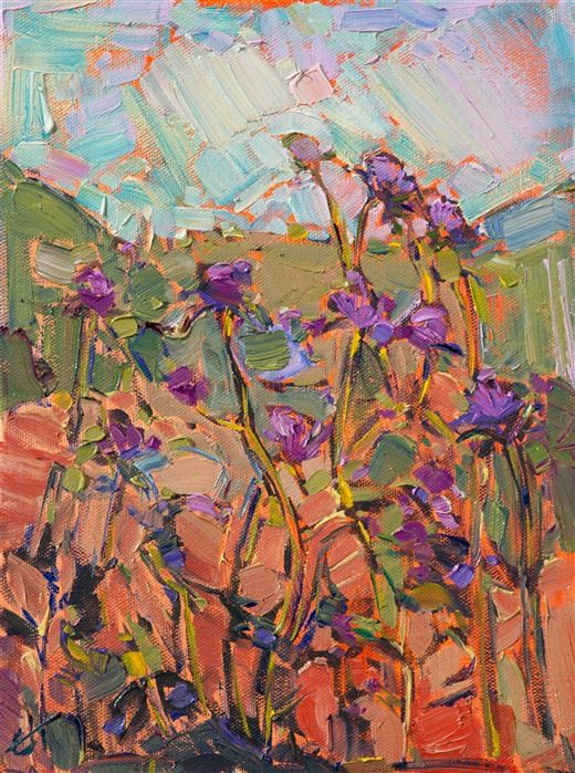 petite oil painting 9x12 of california thistles for sale by the artist erin hanson - Nettoyer Une Peinture A L Huile Encrassee