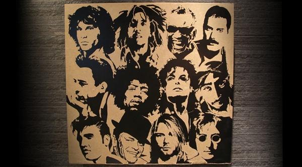 dead portrait society on Behance  #teokon #woodcuts #deadsingers #jimmorrison #bobmarley #raycharles #freddiemercury #johnnycash #jimihendrix #michaeljackson #tupac #elvis #frank #sinatra #kurt #cobain #john #lennon #portrait