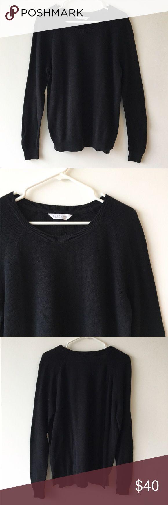 Everlane Black Cotton Sweater Beautiful lightweight cotton sweater in great condition. Everlane Sweaters Crew & Scoop Necks