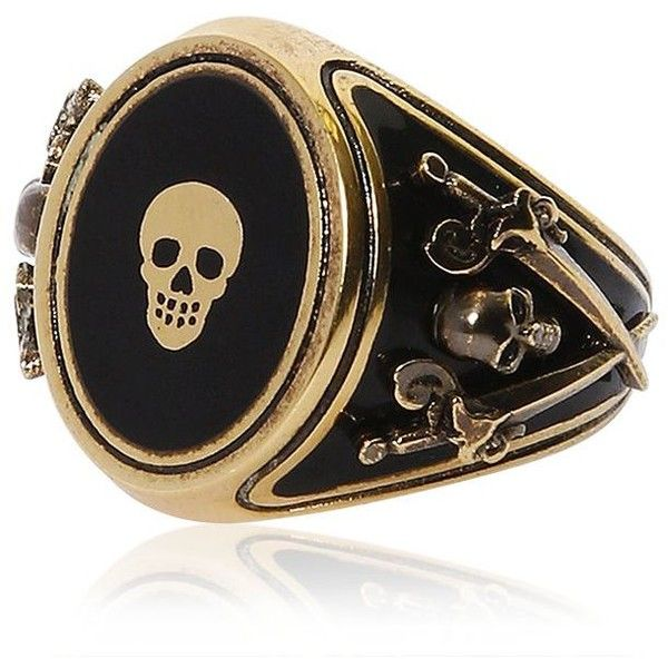 Alexander Mcqueen Men Skull Enameled Brass Ring (9 685 UAH) ❤ liked on Polyvore featuring men's fashion, men's jewelry, men's rings, mens brass rings, mens skull rings, mens rings and mens watches jewelry
