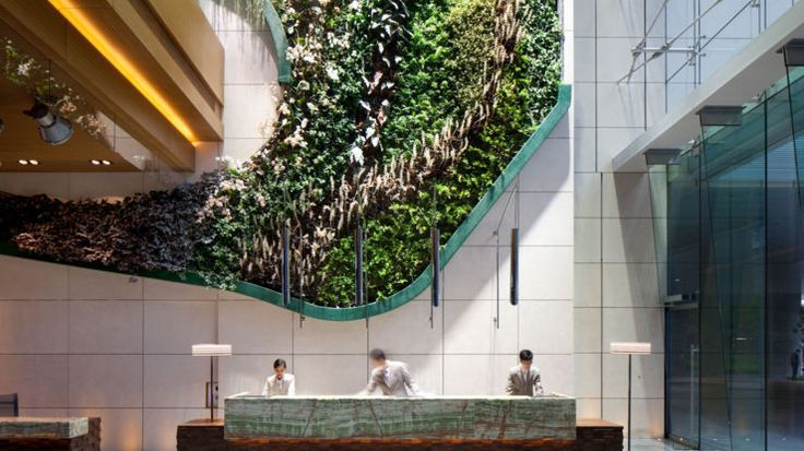 The indoor garden lobby at Hotel Icon, Hong Kong