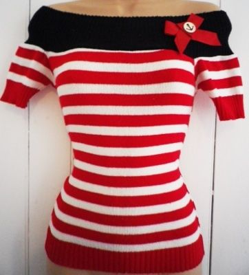 Vintage 1950s Style Pin-Up Rockabilly Nautical Anchor Striped Bardot Jumper