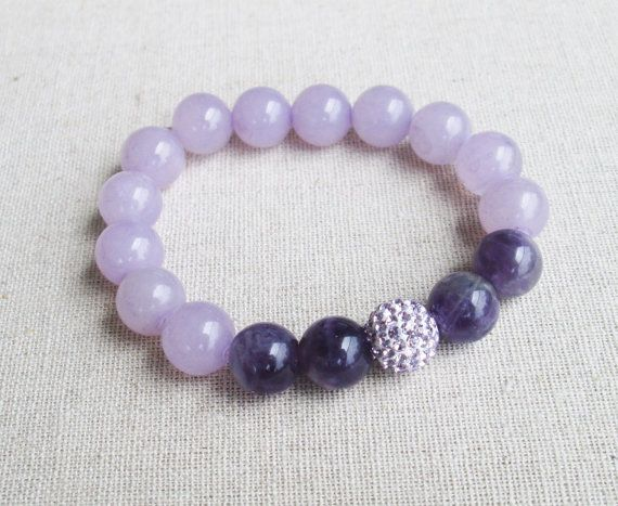 Tranquility - Beaded Stretch Bracelet - Mixed Amethyst Beads with Lavendar Pave Ball