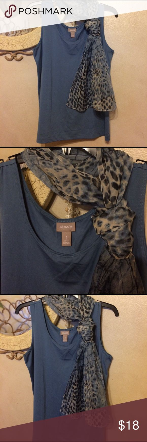 Chicos slate blue tank and alligator print scarf Chicos blue tank and matching alligator skin print blue and white scarf tank size Chicos 1 both NWOT Chico's Tops Camisoles