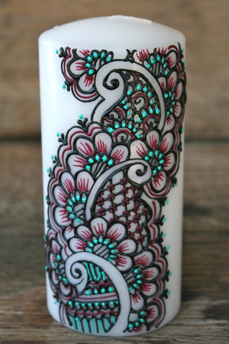 Puffy paint designs - Henna Style Painted Candle Black Magenta And Aqua Green Ivory Pillar Candle