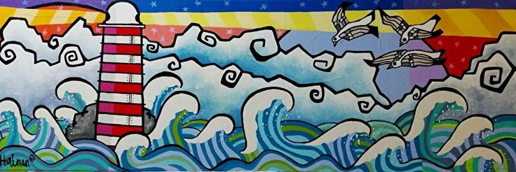 kleurrijk schilderij, kleurrijke schilderijen, vrolijk schilderij, popart, zee met vuurtoren (180 x 60 cm ) boven bank, boven buffetkast