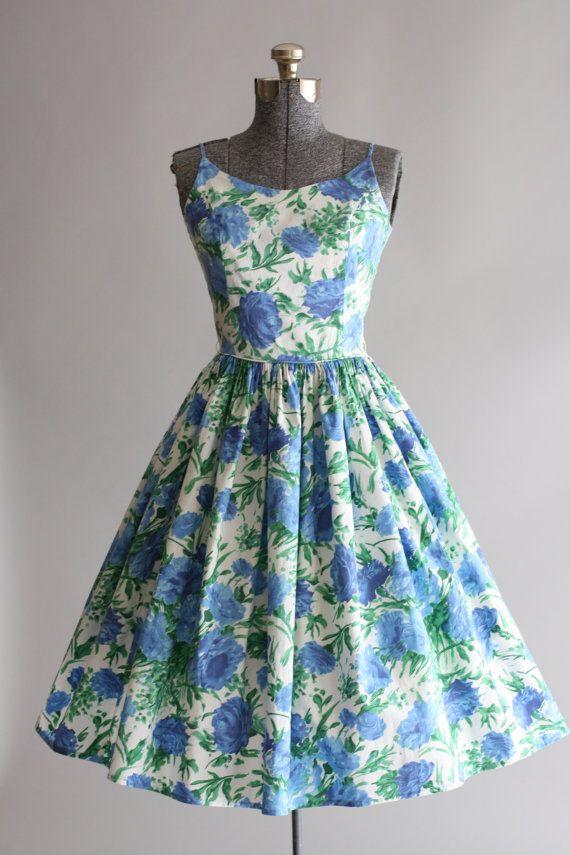 Vintage 1950s Dress / 50s Cotton Dress / Blue and Green Floral Sun Dress w…