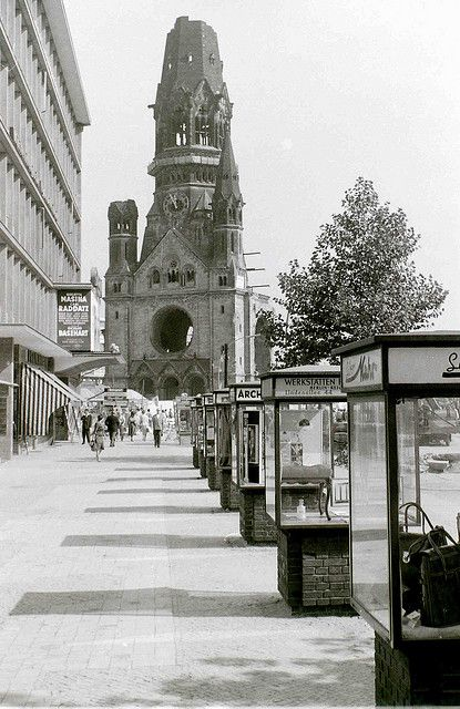Kaiser Wilhelm memorial church, West Berlin, 11 September 1959    The church was bombed in November 1943 and intentionally left as a ruin. A modern church now exists alongside