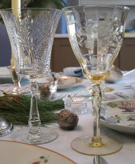 antique etched crystal stemware | vintage cut and etched crystal wine glasses