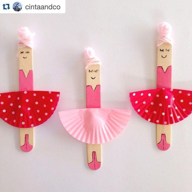 """Oh what #kidscrafts101 cuties by @cintaandco ! #Repost @cintaandco with @repostapp. ・・・ CRAFT STICK BALLERINAS || miss5 loves her ballet…"""