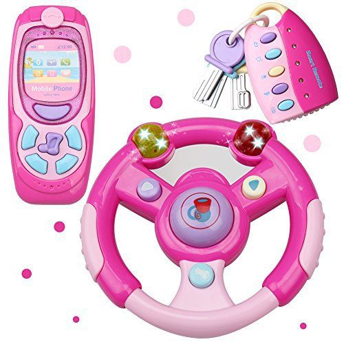 This 3-piece set includes a steering wheel, mobile phone, and car keys. Steering Wheel features turn signals (left and right), horn, firing sounds and music. Cell Phone features 6 ring tones, fun sound effects, music and a camera shutter. Smart Remote Car Keys features unlock/lock buttons,... more details available at https://perfect-gifts.bestselleroutlets.com/gifts-for-holidays/baby-toddlers/product-review-for-magiccindy-3-in-1-interactive-musical-toys-steering-wheel-mobile