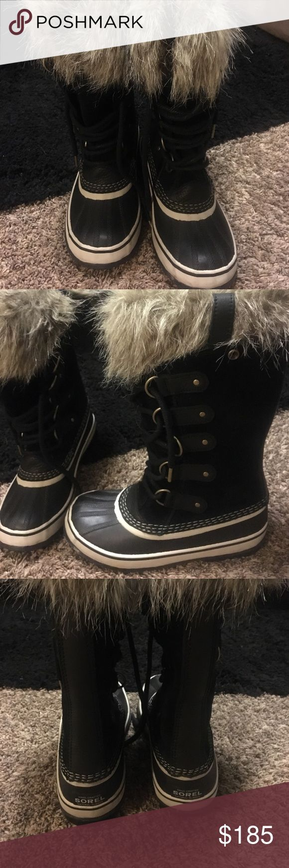 Sorel winter boots Perfect condition worn once but realized they were a little too big and I need to buy a kid size! True to size 6! Let me know if you have any questions or would like more pictures! Sorel Shoes Winter & Rain Boots
