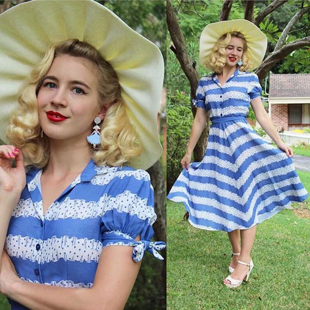 💙 @gracefullyvintage Looking Super Gorgeous In The Classic Blue Ribbon Dress By 💙#theseamstressofbloomsbury ... Available From Our #onlineshop 😍    Perfect Spring Summer Vintage Inspired Dress .. Perfect For Picnics.. Beach Or Vintage Festival... Shop Link In Bio For The Beauty👆🏻💋 Earrings @reverefolie   Hat @uniquevintage   Shoes @novoshoes   #lovethislook #classic #vintagestyle #elegant #1940s #vintagedress #vintagefashion #vintageinspired #vintagefestival #vintagedress #blueandwhite…