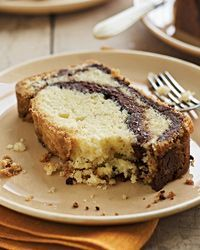 Nutella-Swirl Pound Cake | Lauren Chattman makes this pound cake especially rich by swirling in the chocolate-hazelnut spread Nutella. She recommends serving the cake with coffee ice cream. (Recipe adapted from Cake Keeper Cakes.)