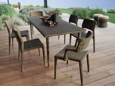 Synthetic rattan dining set