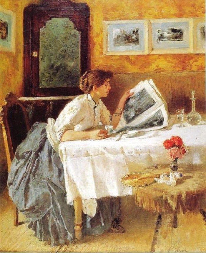 Woman reading newspaper in a gold room.   Francesco Nétti (Italian artist, 1832- 1894).  18C - 20C Women Reading Newspapers