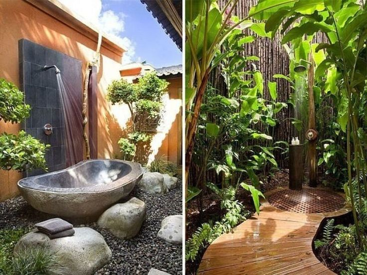 Summer shower with bath and bamboo