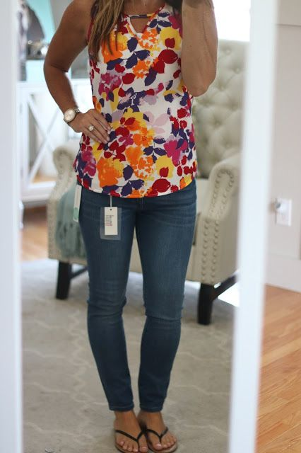 My Birthday Fix!  Stitch Fix Reveal July 2016 Pixley Hawn Mixed Material Colorful Floral Top with Warp + Weft Mattie Skinny Jeans