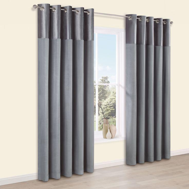 Linnet Concrete Panelled Velvet & Faux Silk Eyelet Curtains (W)167cm (L)183cm | Departments | DIY at B&Q