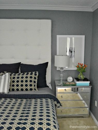 diy mirrored furniture. i love this diy tufted headboard also the mirrored nightstand but link diy furniture