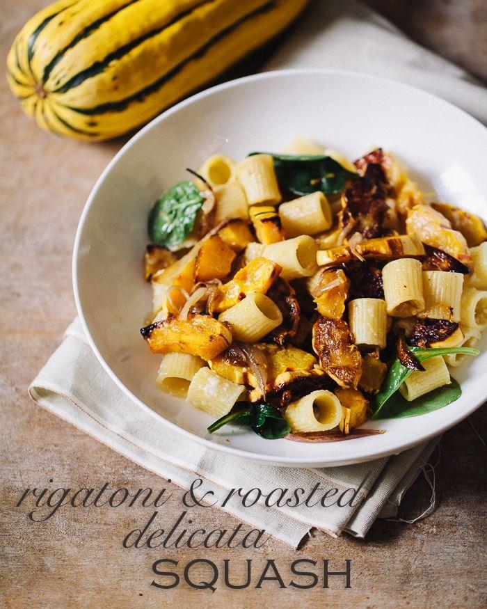 familystyle food: rigatoni and roasted delicata squash