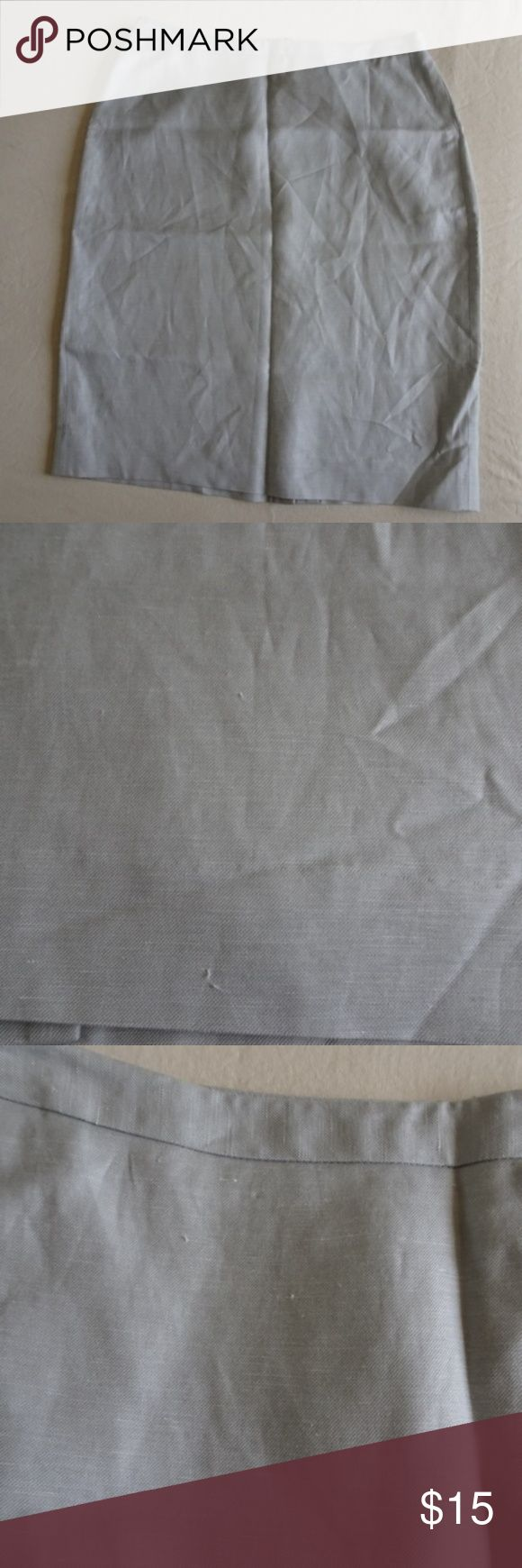 """LOFT silk linen blend pencil skirt Great condition, some minor snags on the front, almost could pass for fabric knots. silvery gray color zipper in back  slit in back length 7""""  length 22.5""""  silk linen blend dry clean only. Lined.  All items come from a non-smoking home! LOFT Skirts Pencil"""