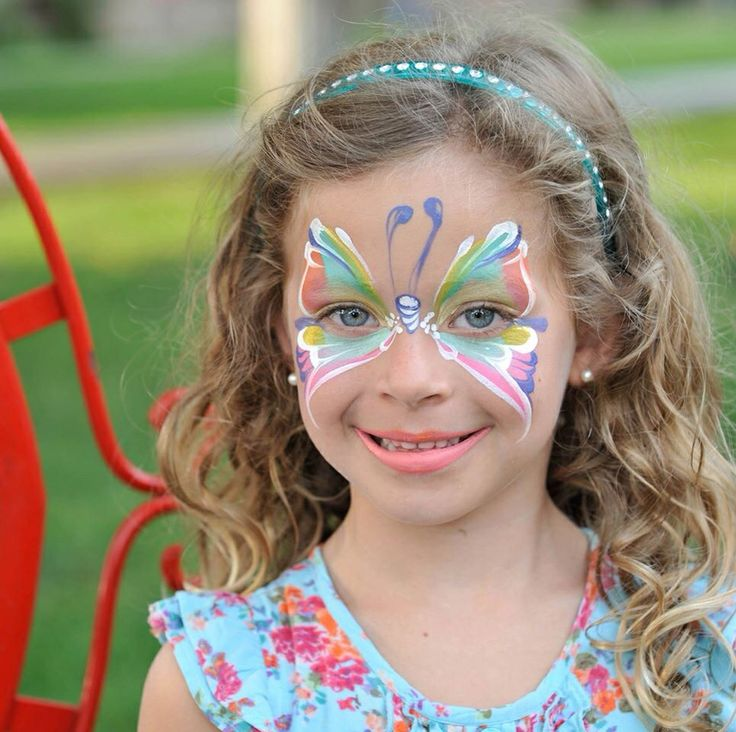 Adela Vidal || beautiful colorful butterfly face painting ideas for kids