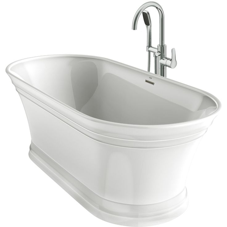 Jacuzzi Lyndsay White Acrylic Oval Freestanding Bathtub with Center Drain (Common: 31-in x 67-in; Actual: 24-in x 31.5-in x 67-in)