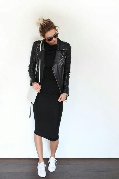 how to wear a leather jacket with a dress, 30 best outfits