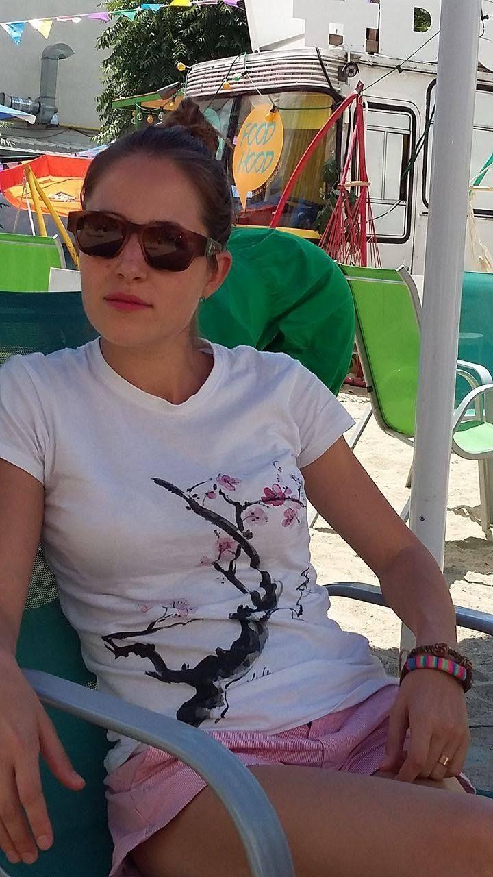 My Sakura painting on T-shirt  #WearMyArt #Sakura l#lidiaalinanicolae.ro #painting #art