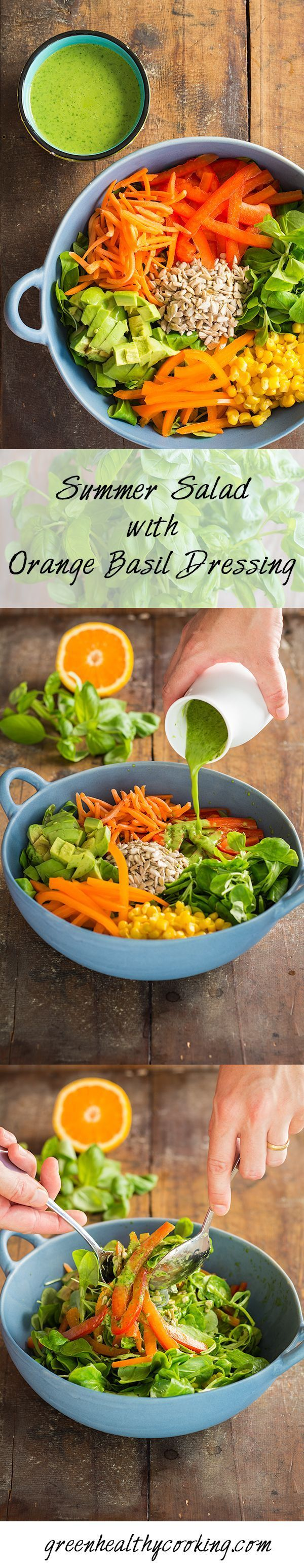 Eat in season, eat fresh and eat healthy by indulging in this Summer Salad with Orange Basil Dressing, a 15-min recipe full of flavor and nutrition.