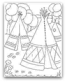 free teepee coloring page