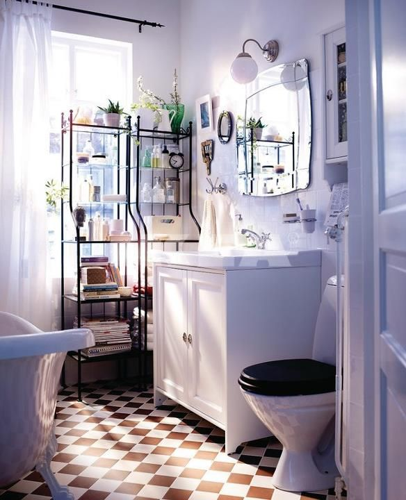 IKEA - pretty white/pink/lilac toned bathroom space