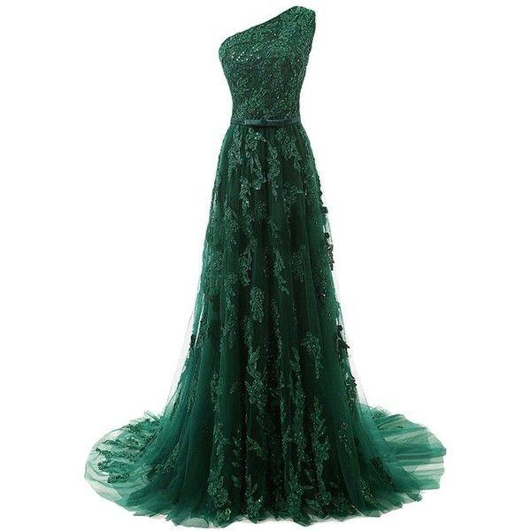 MissDressy A-line One-shoulder Long Lace Applique Prom Dress Evening... ($140) ❤ liked on Polyvore featuring dresses, gowns, a line dress, one shoulder long dress, prom dresses, green formal dresses and long prom dresses