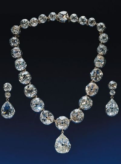 Coronation Diamond Necklace and Earrings: originally created for Queen Victoria, they have also been worn by Queen Alexandra, Queen Mary, The Queen Mother, and Queen Elizabeth II at their coronations.