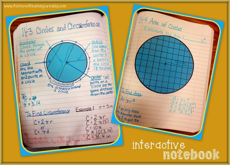 teaching circumference & area of a circle, interactive notebook-style