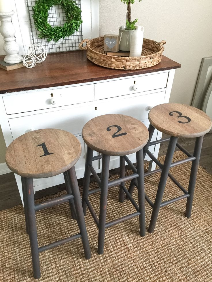 Gray numbered stools. Farmhouse style