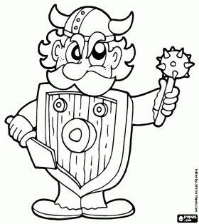 Viking krijger met helm, schild en wapens kleurplaat