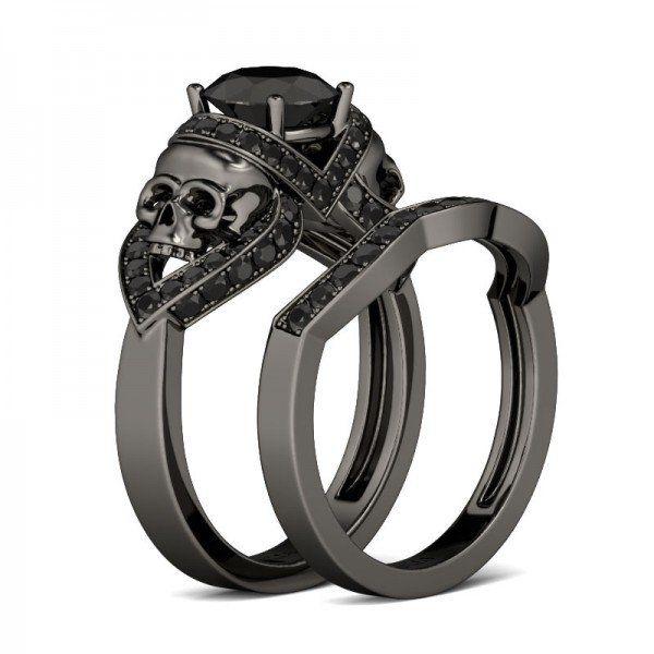 20 ct round cut created black diamond skull ring - Skull Wedding Ring Sets