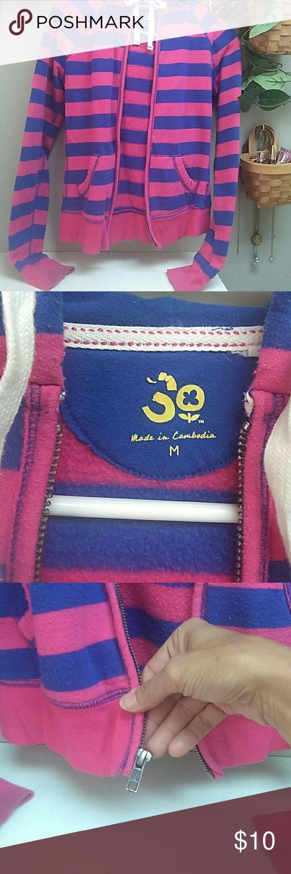 SO zip up hoodie Pink and blue striped zip up hoodie. SO Tops Sweatshirts & Hoodies